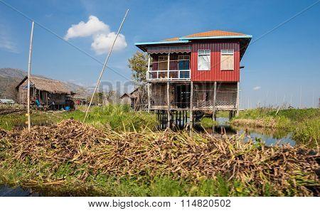 Houses of Inle Lake village