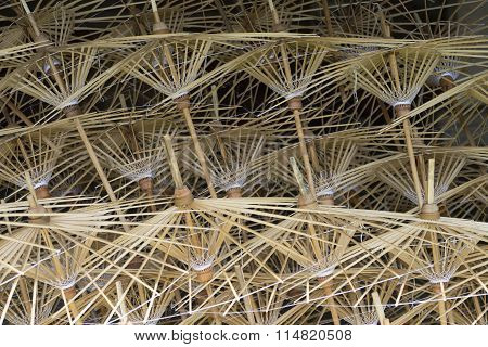 Bamboo Frames Of Paper Umbrella