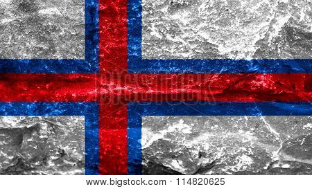 Flag of the Faroe Islands, Faroese flag painted on stone
