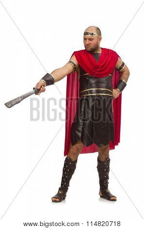 Gladiator holding sword isolated on white