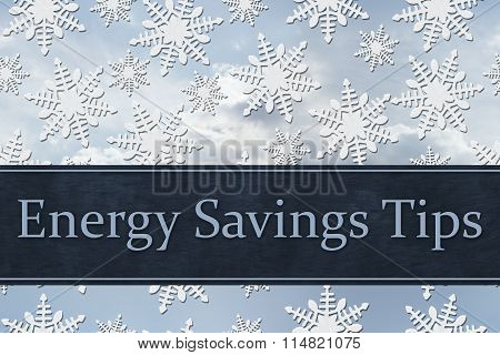 White Snowflake Background With Text Energy Savings Tips