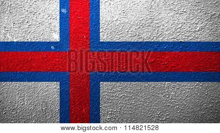 Flag of the Faroe Islands, Faroese flag painted on cracked paint
