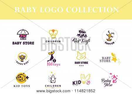 Hand drawn vector collection of baby logo.