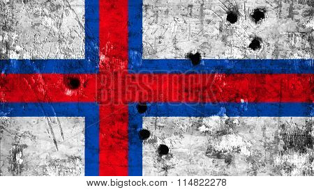 Flag of the Faroe Islands, Faroese flag painted on metal with bullet holes