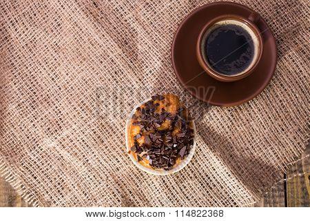 Coffee And Tasty Cupcake