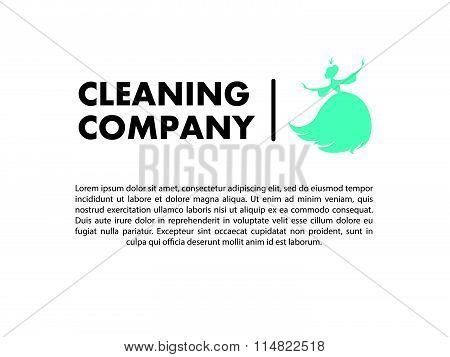 Vector flat logo design for cleaning company.