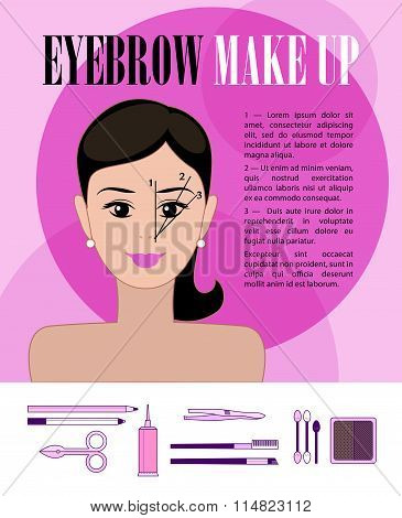 Vector flat illustration of eyebrow make up