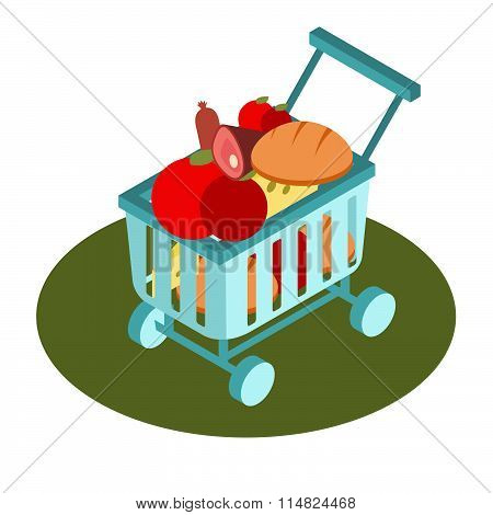 Supermarket Basket Isometric Icon