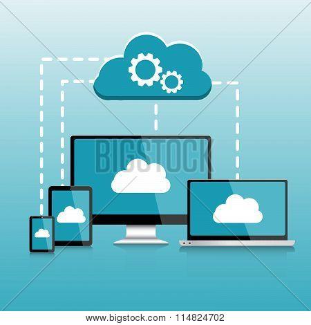 Responsive Pc. Mobile Devices Infographics, Cloud Computing Elements Vector Illustration