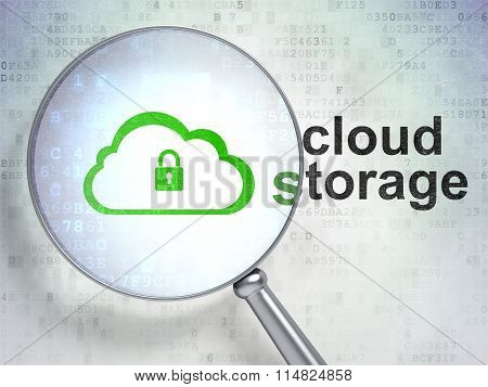 Cloud technology concept: Cloud With Padlock and Cloud Storage with optical glass