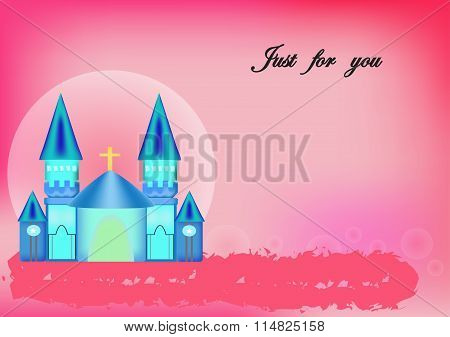 Church Worship Blue Pink Background.