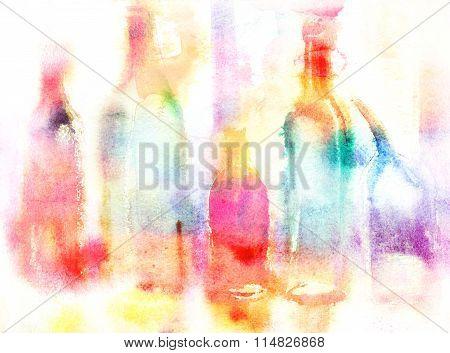 Still Life Of Various Bottles Over White Background