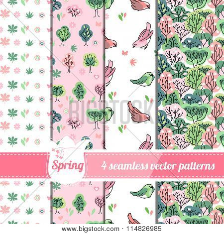 Collection of seamless patterns with stylized cute trees and birds. Endless texture for your design, announcements, greeting cards, posters, advertisement.