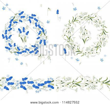 Two floral round garlands and endless pattern brushes made of muscari and snowdrops. Flowers for romantic and easter design, decoration,  greeting cards, posters, advertisement.