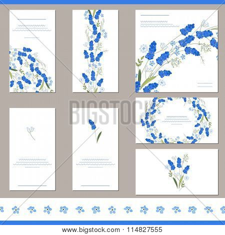 Floral spring templates with cute bunches of muscari. For romantic and easter design, announcements, greeting cards, posters, advertisement.