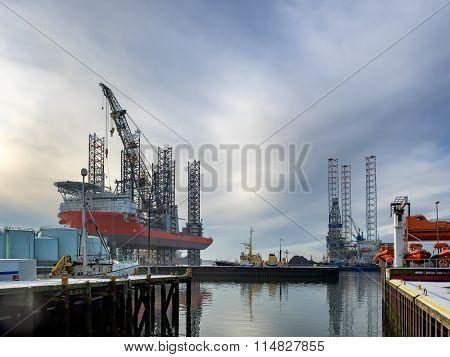 Jack Up Rig In Esbjerg Oil Harbor, Denmark