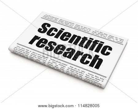 Science concept: newspaper headline Scientific Research