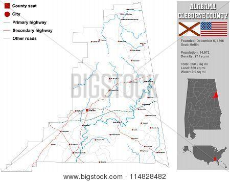 Alabama Cleburne County Map