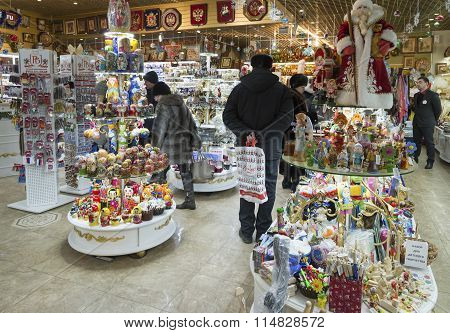 Moscow, Russia - January 10 2015. The interior of  souvenir shop in  shopping center at Central Chil