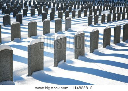 Uniform rows of unmarked graves in the snow, Montreal, Canada.