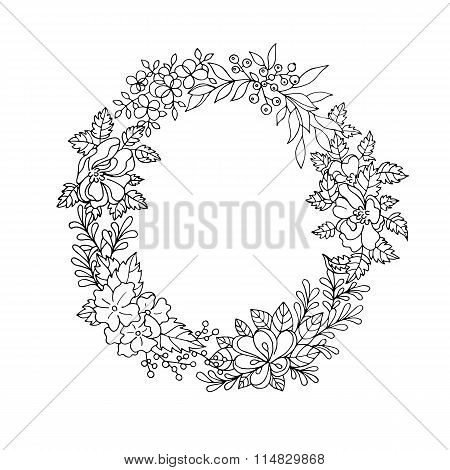 Black and white floral wreath