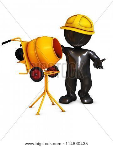 3D Render of an Morph man builder with cement mixer