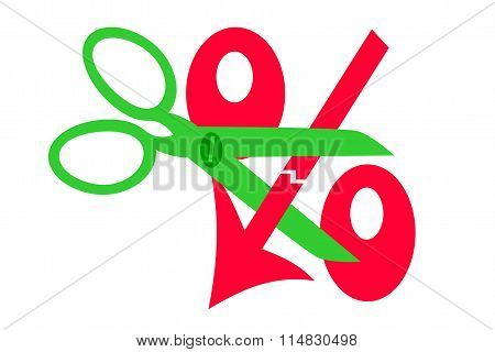 Scissors and red percent sign down