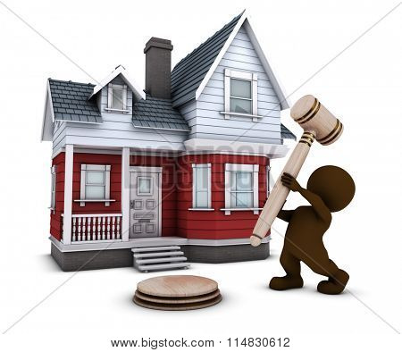 3D Render of Morph Man with house and gavel