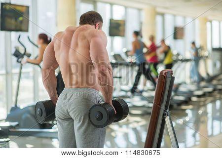 Bodybuilder's strong back.