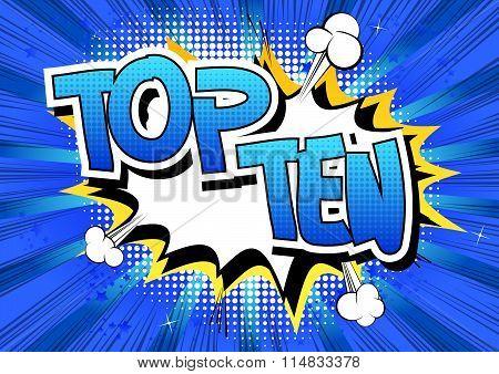 Top Ten - Comic book style word