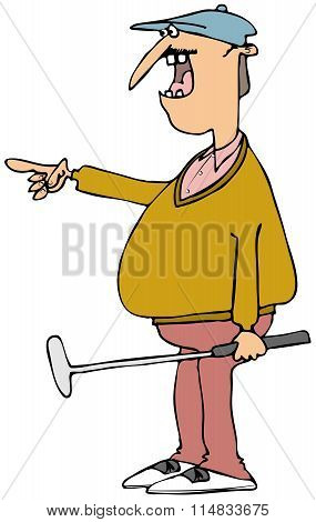 Colorful golfer holding a putter