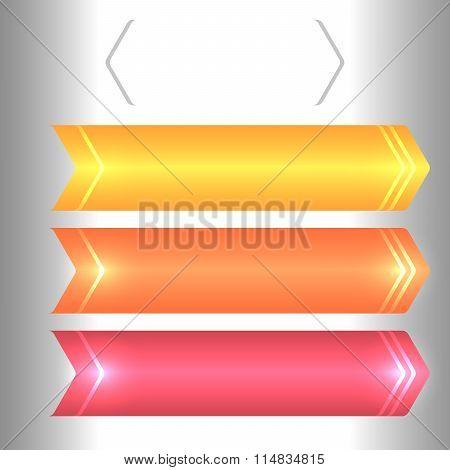 Set Of Horizontal Banner Arrow Brackets Glow Effect