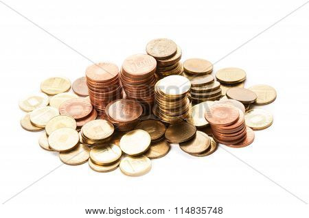 Piles Of Romanian Coins.