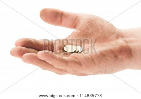 Beggar Hand With Some Coins.