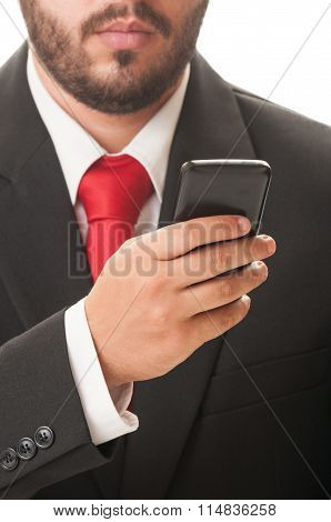 Business Man Checking His Smartphone.