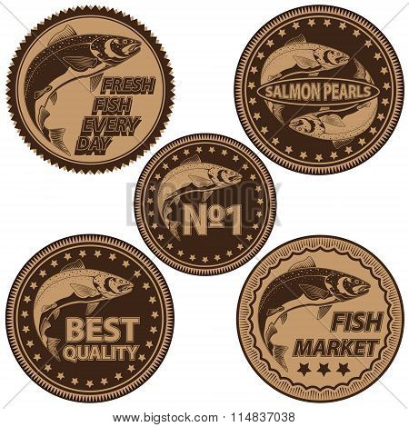 Salmon Fish Fishing Logos Collection