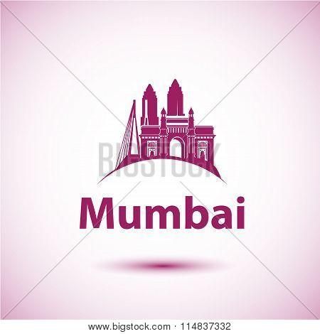Mumbai, India skyline silhouette black vector design on white background.