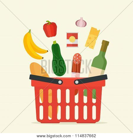 Supermarket basket with food
