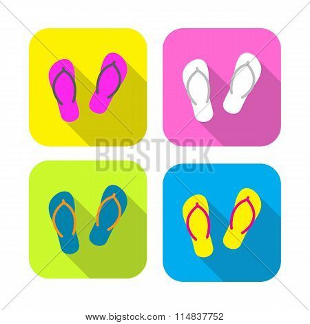 colorful slippers flat icon with long shadow on rounded rectangle background