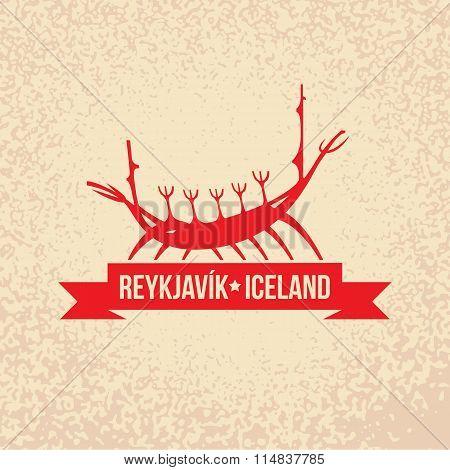 Viking boat. The symbol of  Reykjavik, Iceland.