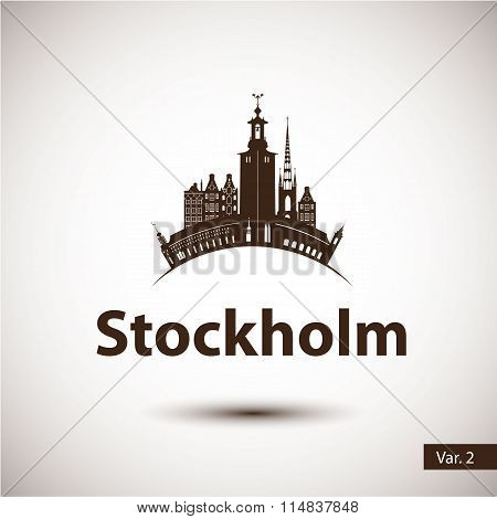 Vector silhouette of Stockholm, Sweden. City skyline.