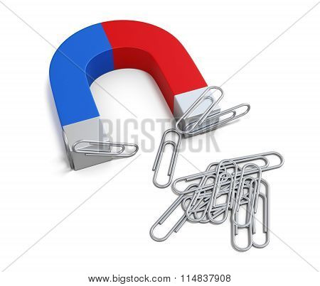 Magnet With Paper Clips. 3D.