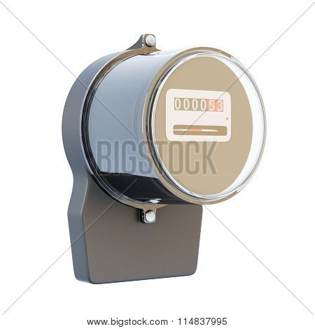 Retro Electric Meter Isolated On White Background. 3D.