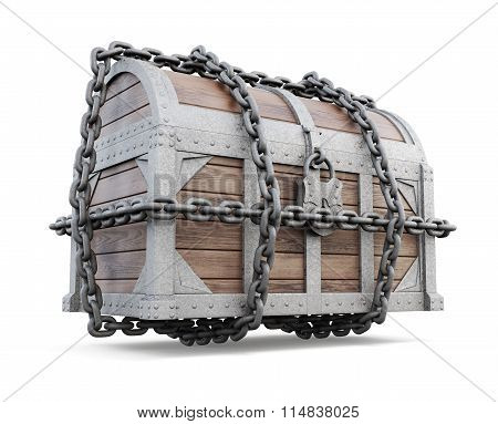 3D Image Of A Chest Close-up. Treasure Chest Isolated On A White Background And Rolled Up In A Chain