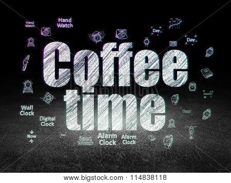 Timeline concept: Coffee Time in grunge dark room