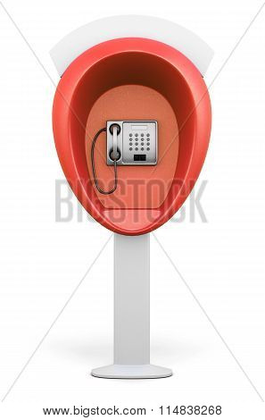 Red Street Telephone Booth Isolated On White Background. Front View. 3D Illustration