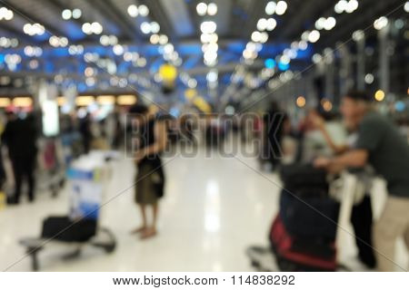 Blur Photo of passenger on the departure hall in  Airport