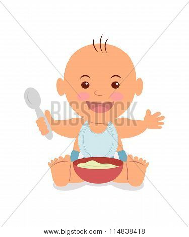 Boy with a bowl of porridge.
