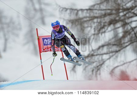 CORTINA D'AMPEZZO, ITALY - JANUARY 24 2014:  During the FIS Alpine Ski World Cup Women's downhill race in Cortina d'Ampezzo, Italy.