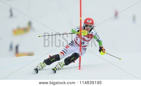 KIRCHBERG AUSTRIA - JANUARY 21 2014: During the FIS Alpine Ski Europa Cup Women's Slalom in Kirchberg, Austria